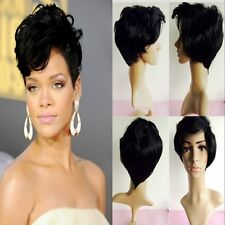 2015 Women Natural Black Short Curly Wavy Hair Rihanna Style Wig Heat Resistan