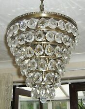 CRYSTAL CEILING LIGHT. BRASS & CRYSTAL with LED BULBS, 15ins Dia x 15ins Drop.