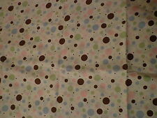 White Fabric with Pink Blue Brown Green Polka Dots JoAnn Stores Quilting Baby