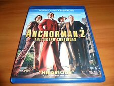 Anchorman 2: The Legend Continues (Blu-ray/DVD, 2014, 2-Disc) Will Ferrell Used