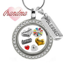 GRANDMA DELUXE Crystal Glass Locket Pendant Set,Floating Love Charms, Necklace