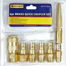 6PC Brass Quick Release Air Line Coupler Connector Set For Compressor Tools Set