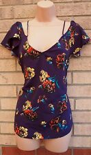 ASOS PURPLE FLORAL MULTI COLOR STRAPPY SILKY FEEL BAGGY BLOUSE CAMI TOP 8 S