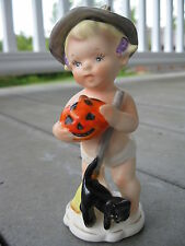 Napcoware Napco Pumpkin Cat Japan Vintage Witch Halloween Holiday Baby A242