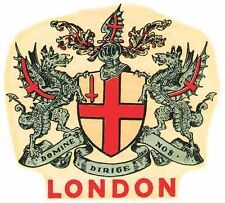 London England UK  Vintage Looking Travel Decal Luggage Label Sticker