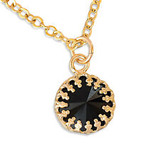 Gold Filled 14k Necklace Solitaire Onyx Pendant Designer Charm Chain Warranty