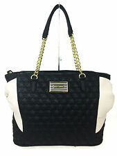 NWT Betsey Johnson Bone Black Star Studded Tote