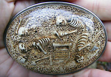 Vtg BURIED TREASURE Belt Buckle CAPT HOOK Skeleton SHIP Pirate Acrylic RARE VG++