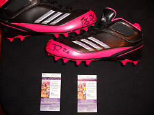 REGGIE BUSH SIGNED MIAMI DOLPHINS TEAM ISSUED BLK/PINK ADIDAS CLEATS W/JSA COA