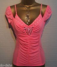 BNWT JANE NORMAN Lipstick Pink Polka Dot 50s Pin Up 2in1 Corset Top Label Size 8