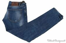 JUST CAVALLI Blue Denim Cotton Side Tab Fashion Mens Luxury Pants Jeans - 38