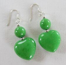 Green Jade Hearts 925 Sterling Silver Drop PIERCED Earrings Jellybean