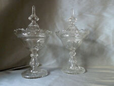 antique Victorian glass pedestal jars/urns, set of 2, ornate lids