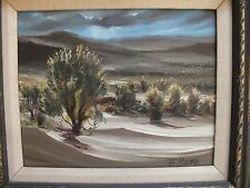 HARLAND YOUNG original mid century desert painting small 11 by 14 listed AZ CA
