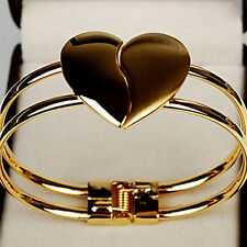 Fashion Women Korean Style Gold Plated Jewelry Heart Cuff Bangle Charm Bracelet