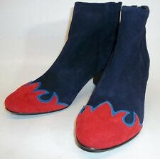Free People Adelle Womens US5.5/6 EU36 Navy/Red Suede Flame Ankle Booties NWOB