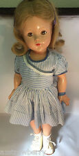 VTG Antique Effanbee Composition Sleepy brown eyes blue dress leather shoes doll