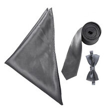 "Boy's Satin 2"" Slim Tie, Bow Tie & Pocket Handkerchief Set - Wedding / Prom"