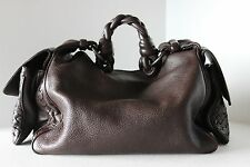 BOTTEGA VENETA INTRECCIATO Brown COCKER SATCHEL SHOULDER BAG HANDBAG PURSE Italy