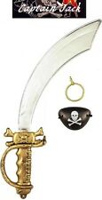 PIRATE SWORD EYEPATCH EARRING SET Boys Girls kids Fancy Dress Costume Cutlass