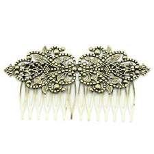 "2PCs Hair Clips Comb Shape Flower Hollow Bronze Tone 9.8cm x 5.2cm(3 7/8""x2"")"