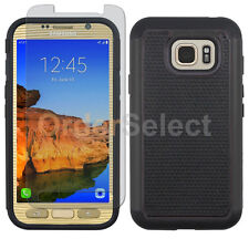 Hybrid Rugged Rubber Case+LCD HD Screen Guard for Samsung Galaxy S7 Active Black