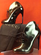 NIB GUCCI KIM GUN METAL LEATHER LACE UP CURVE HEEL RUNWAY ANKLE BOOTS 38.5 $1K