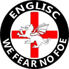 "ENGLISC ""FEAR NO FOE"" ENGLAND CAR STICKER - White Dragon of the English"