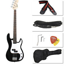 Black Electric Bass Guitar Including Strap, Guitar Case, Amp Cord and More UY