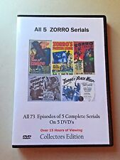All 5 Complete Zorro uncut Serials -  Cliffhanger Movies Great Gift