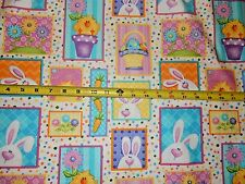 Hippity Hop Easter Rabbit Bunny Blocks Henry Glass Cotton fabric 6679 Col 21