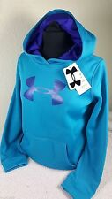 NWT UNDER ARMOUR YOUTH KID GIRL COLDGEAR BLUE GLITTER SWEATSHIRT HOODIE SZ YSM S