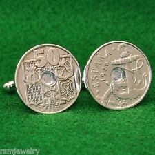 Spanish Vintage 1949 Coin Cufflinks, Ship Anchor & Wheel, Spain 50c Shields