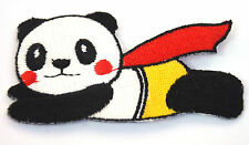 PANDA SUPERMAN FLYING HERO  Embroidered Sew Iron On Cloth Patch Badge APPLIQUE