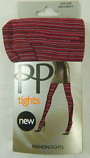 PP Pretty Polly Space Dye Striped Nylons Fashion Tights Pantyhose OS Redcurrant