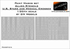 Paint Masks 1/35 WWII Allied US Stars and Medical Crosses Stencil Vehicles Tanks