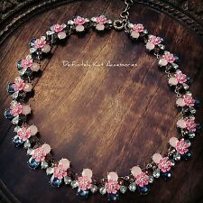 Stunning neon pink & navy blue crystal flower cluster strand statement necklace