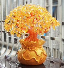 FD4587 Feng Shui Wealth Lucky Citrine Crystal Gem Money Tree in Money Bag Pot ♫