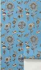 Anthropologie Floral Flora Fauna Flocked Wallpaper #JL1164 Blue Black 56 Sq Ft