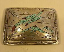 signd TOMMY SINGER Sterling Silver BELT BUCKLE Navajo Turquoise Coral Thomas 925