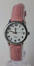 Timex T2E971 Women's Elevated Classics Silver-Tone Pink Leather Watch OVERSTOCK