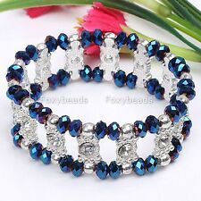 "Womens Elastic AB BLUE Crystal Glass Rhinestone Bead Cuff Bracelet Bangle 7""L"