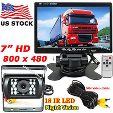 "7"" LCD Monitor + Bus Truck Car Reverse Rear View IR Backup Camera 18LEDs 12V-24V"