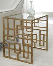 Neiman Marcus EILEEN Iron Asian SideTable Glass Top End Accent Lovelace HORCHOW