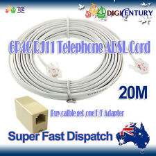 White 20M 6P4C ADSL Telephone Cord Cable RJ11 with Female to Female Coupler