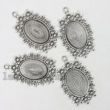 6x Antique Silver Zinc Alloy Flower Pattern Oval Base Jewelry Charms Pendants LC