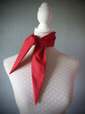 Red cotton rockabilly scarf, retro vintage style scarf, fifties tie, 50's scarf