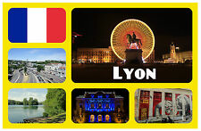 LYON, FRANCE - SOUVENIR NOVELTY FRIDGE MAGNET - FLAGS / SIGHTS - GIFT / NEW