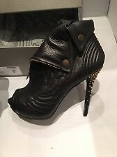 Alexander McQueen Angel Wings Black Booties with Gold Studded Heels - Sz 4, BNIB