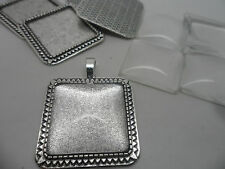 5 Antique Silver Square  Pendant Making Set,5 Settings & 5 Cabochons.,tray 25mm
